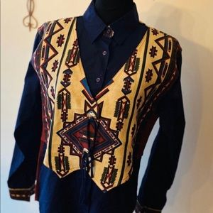 Vintage 90s  2 in 1 Cowgirl Rodeo Western Shirt